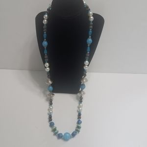 Long Beaded Necklace Blues Silver White
